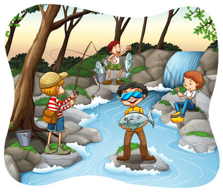 waterfall in forest: People fishing in the stream Illustration