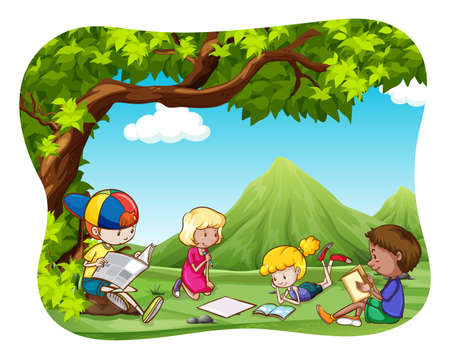 field study: Children reading and writing in the park Illustration