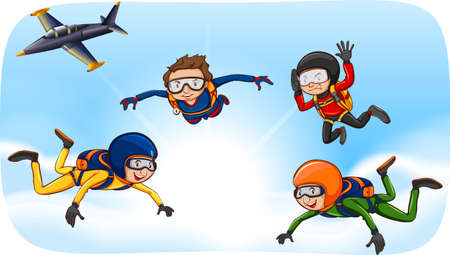 skydiving: People doing skydiving in the sky Illustration