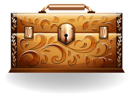 tresure: Treasure chest with leaves design on a white background