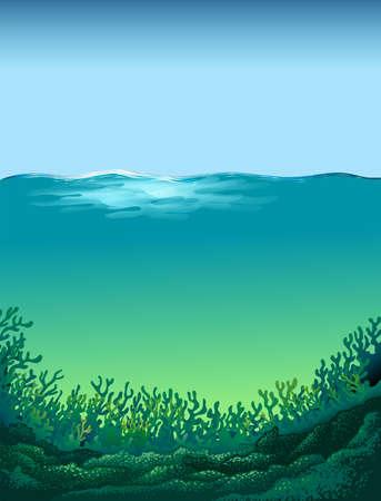 Affiche des vagues dans une mer d'un bleu vert Illustration