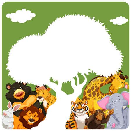 animales silvestres: Cartel de animales salvajes bajo una figura blanca forma del árbol Vectores
