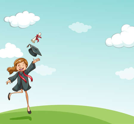 graduation gown: Girl in graduation gown looking happy Illustration