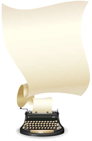 Typewriter with a long blank paper coming out of it