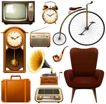Retro products in brown color theme Vector