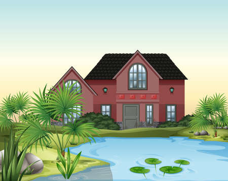 Single house with garden and pond Vector