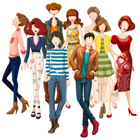 jeans skirt: Group of models wearing fashionable clothes