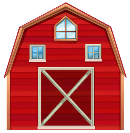 Red wooden barn on a white background Çizim