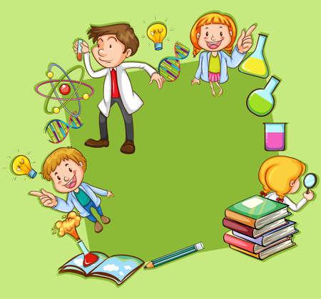 libro caricatura: Marco de Ciencia tema sobre fondo verde