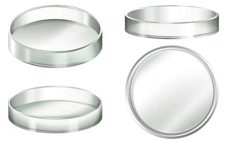 biology lab: Petri dishes on a white background Illustration