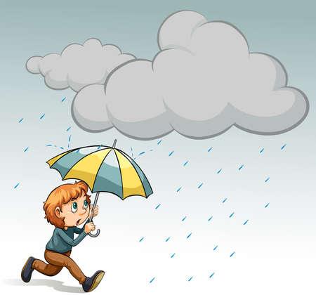 Man with umbrella under the rain Vector