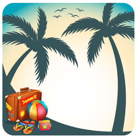 coconut tree: Scenery of coconut tree shadow with accessories for summer vacation