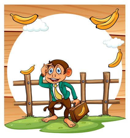 formal attire: Poster of a monkey in formal attire thinking how to get bananas