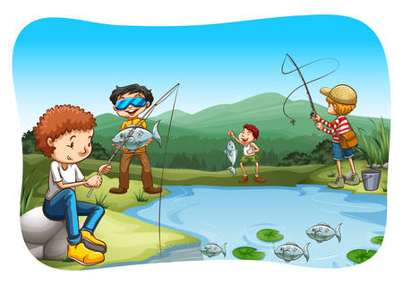 river side: Group of men fishing at the river side