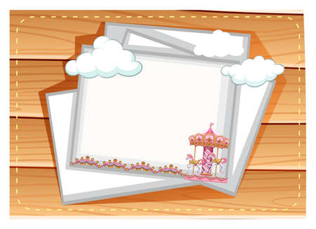 merry go round: Posters with merry go round design on wooden background