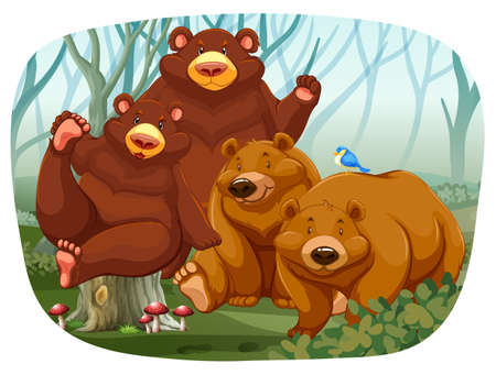 enormous: Cute bears sitting in a jungle