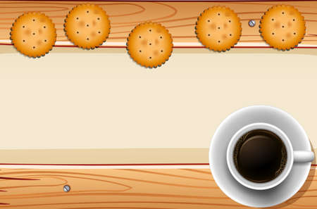 cracker: Round crackers with a cup of black coffee Illustration