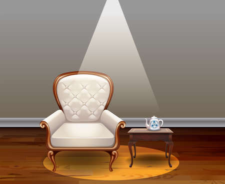 armchair: Luxury armchair and vintage table in the room