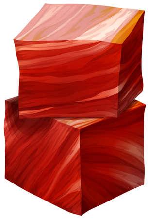 carnes rojas: Dos cubos de carne roja sobre un fondo blanco Vectores