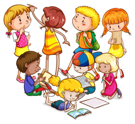 children writing: Boys and girls doing different activities