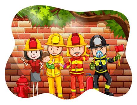 personne seule: Groupe de pompier avec une personne d�tenant un gar�on