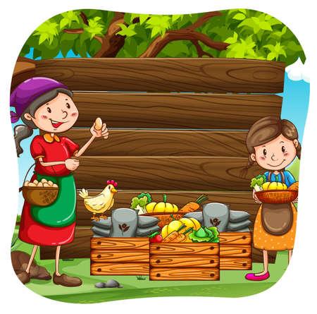 farm fresh: Gli agricoltori con prodotti freschi di fattoria in secchi di legno Vettoriali