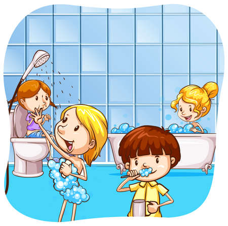 showering: children washing up in the bathroom Illustration