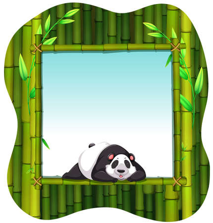 lying in: Frame of bamboo with a panda lying in the middle Illustration