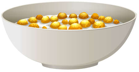 Kom ontbijtgranen in de melk Stock Illustratie