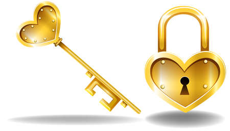 lock and key: Heart shape design key and lock