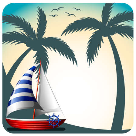 sailing: Sailing boat with coconut trees and birds on the background Illustration
