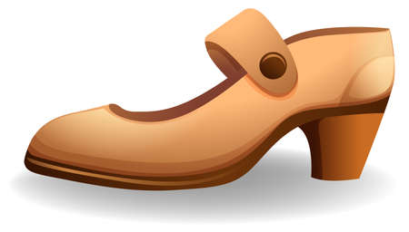 heel strap: Side view of a female shoe on a white background Illustration