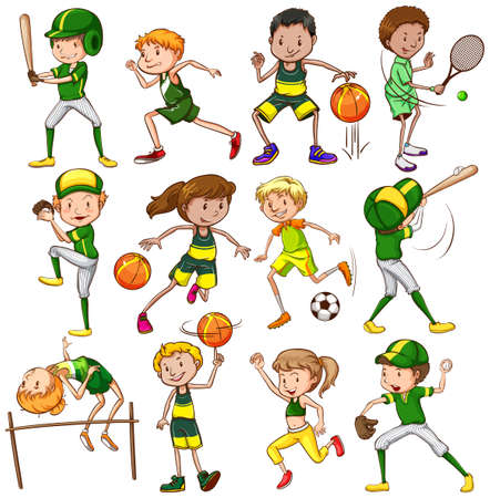sports training: Set of different sports in green color  uniform Illustration