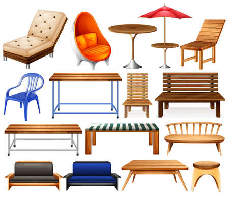 cadeira: Diferentes tipos de mobiliário moderno e clássico Ilustração