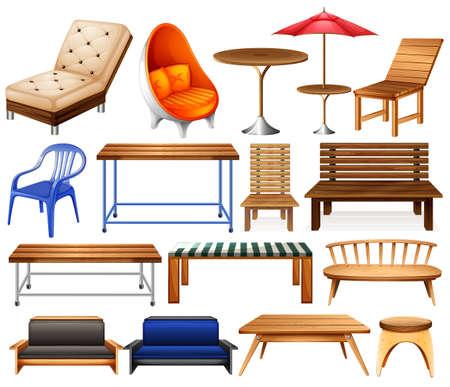 Diferentes tipos de muebles modernos y clásicos Ilustración de vector