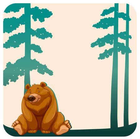 animales de la selva: Oso marrón lindo que se sienta bajo el árbol