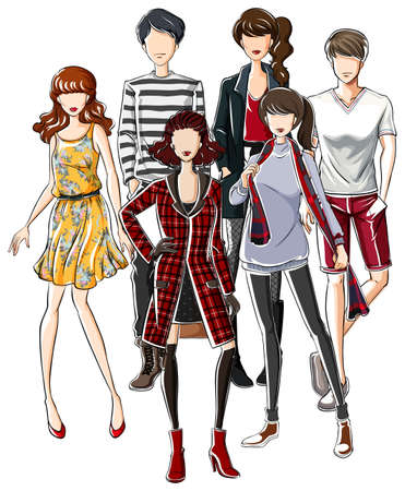 trendy male: Male and female in trendy clothes