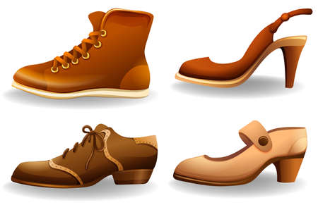 party wear: Collection of different styles of male and female shoes Illustration