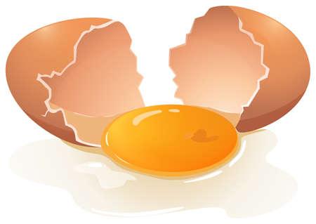 Cracking Ei mit Eigelb in der Mitte Illustration