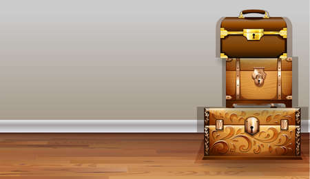 chest wall: Luggage and wooden chest inside the room