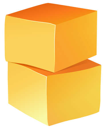 two pieces: Two pieces of chedder cheese Illustration