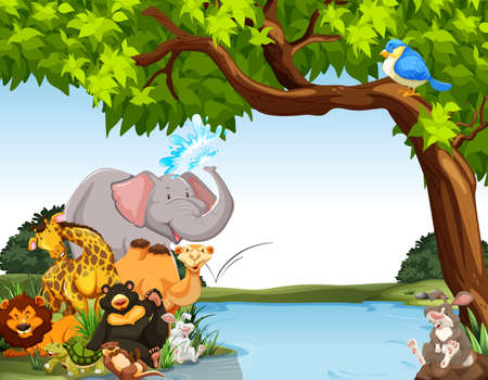 animales de la selva: Animales juntos por la orilla del río Vectores