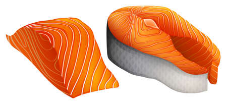 salmon: Two pieces of salmon with and without skin