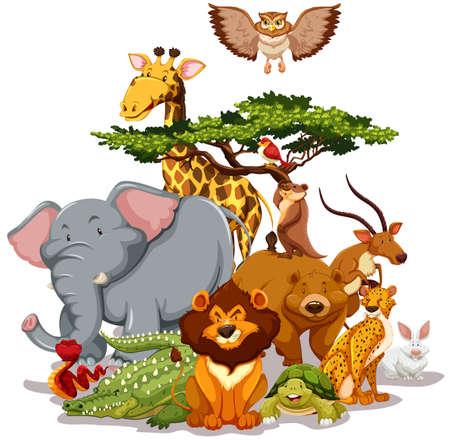 animals: Csoport a vadon élő állatok gyűjtése közelében egy fa Illusztráció
