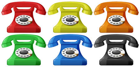 old telephone: Vintage telephone in six different colors Illustration