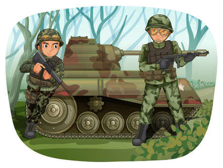 forest clipart: Two soldiers with rifle guns and tank in the field Illustration