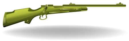firing: Long green rifel on a white background Illustration