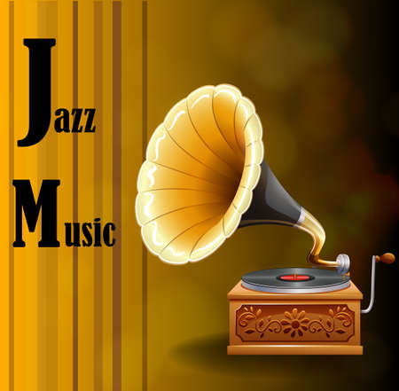 clipart speaker: Jazz music with gramophone background