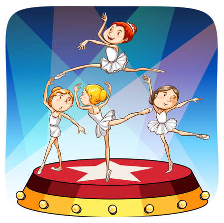 competitions: Group of girls performing ballet on a stage Illustration