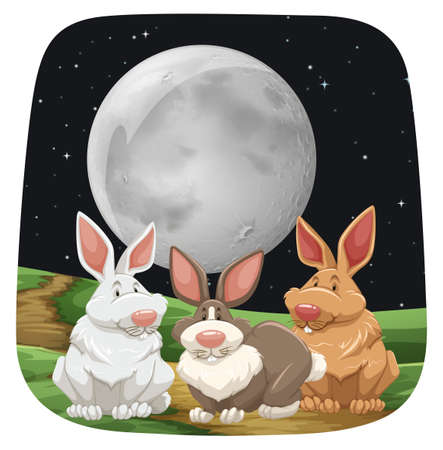 Three cute rabbits sitting under full moon